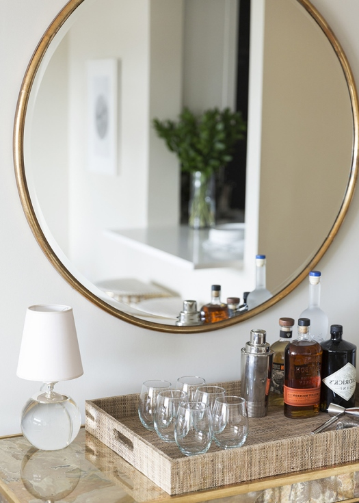 large mirror in living room