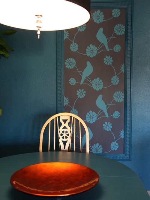 Framed Wallpaper in Dining Room