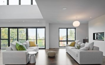 Black window frames in living room