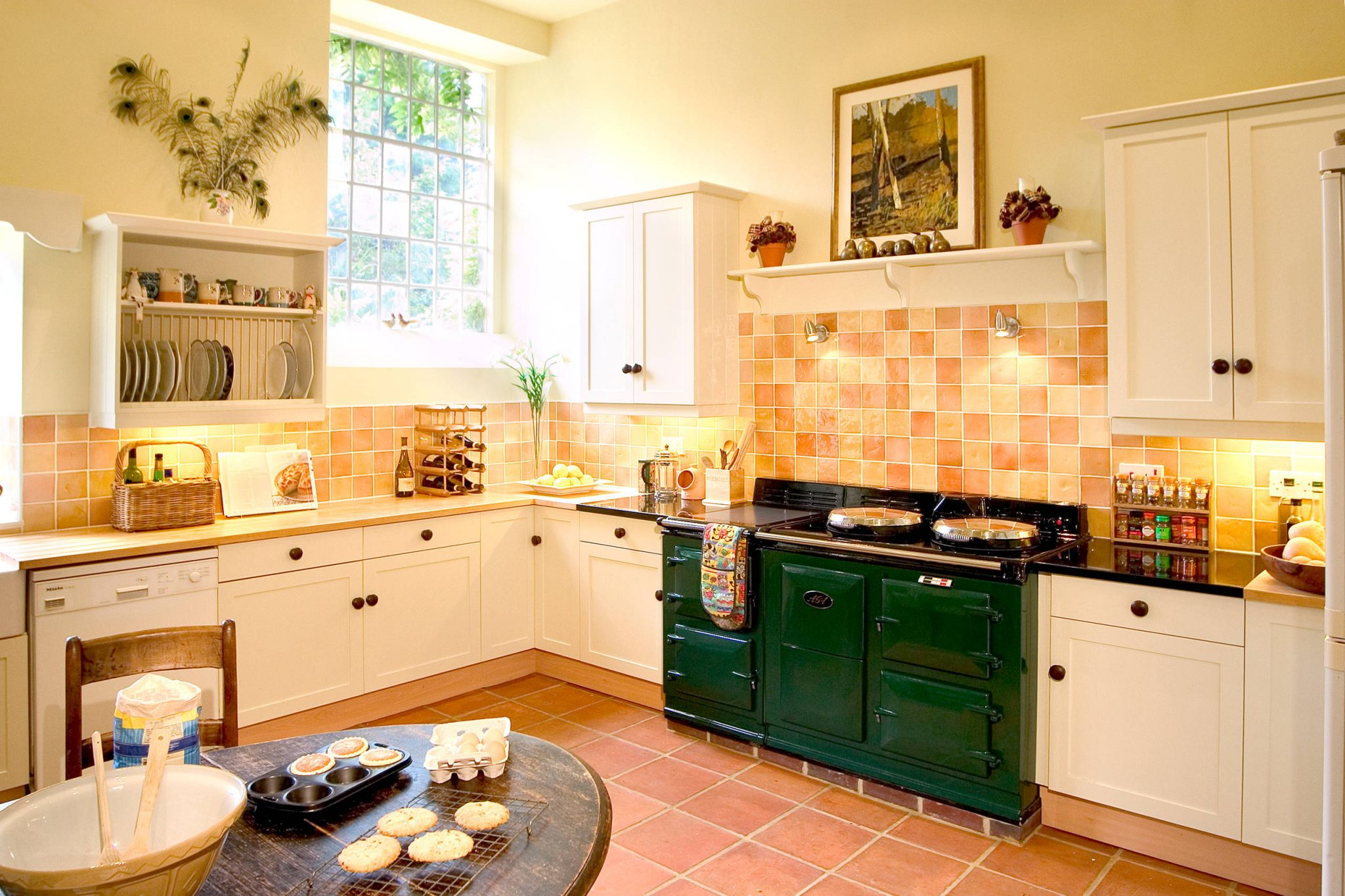 large green aga stove in kitchen