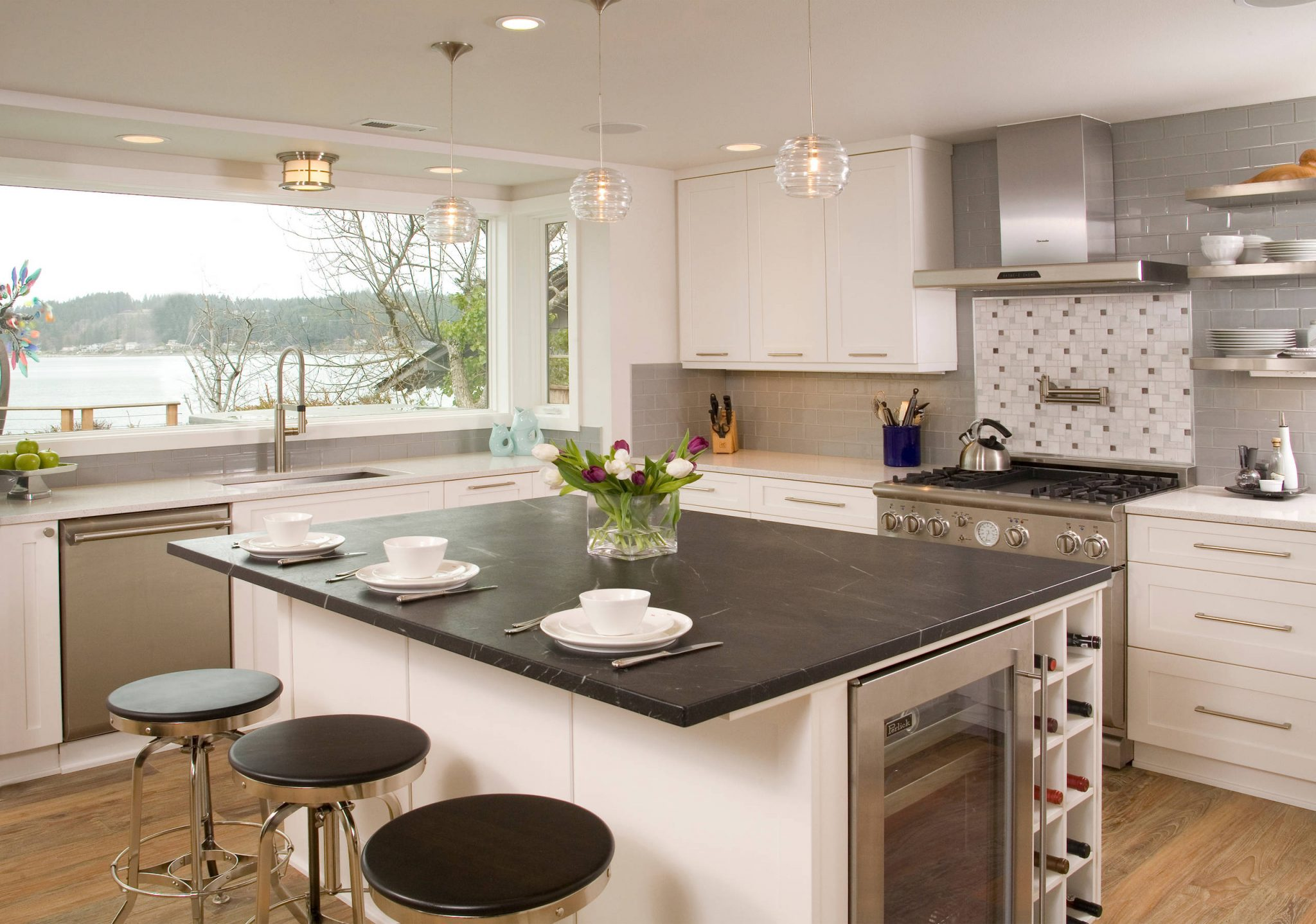 sleek black slate countertop