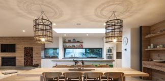 large open kitchen cage lights