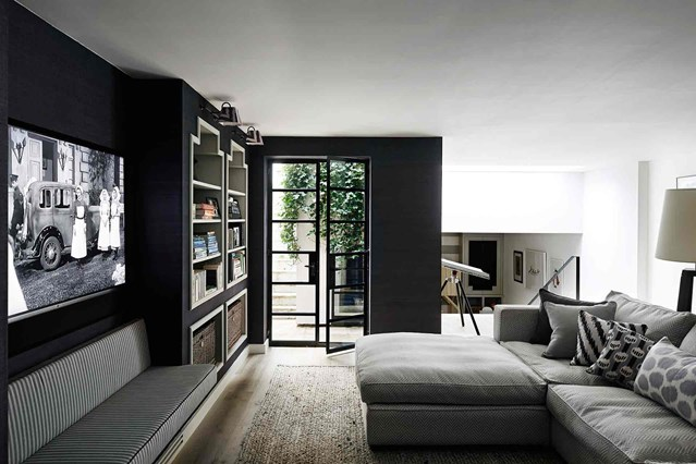 black-wall-room-with-grey-furniture