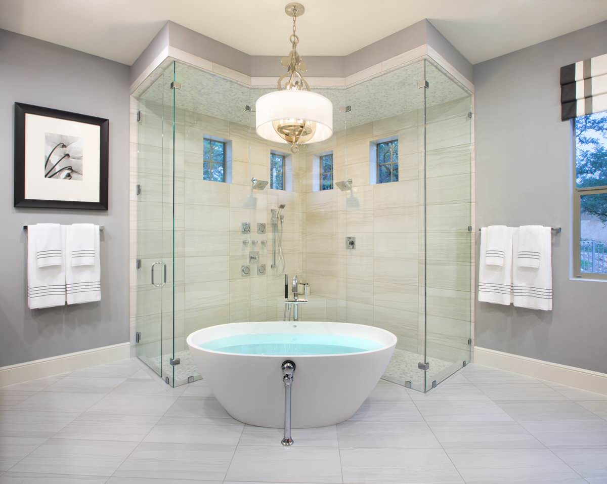 Luxurious Spacious Double Shower In Bathroom