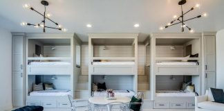 gray-built-in-side-by-side-bunk-beds-storage-drawers
