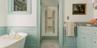 light-blue-seafoam-green-railing-wall-trim-moulding