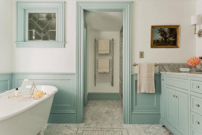 light-blue-seafoam-green-railing-wall-trim-moulding