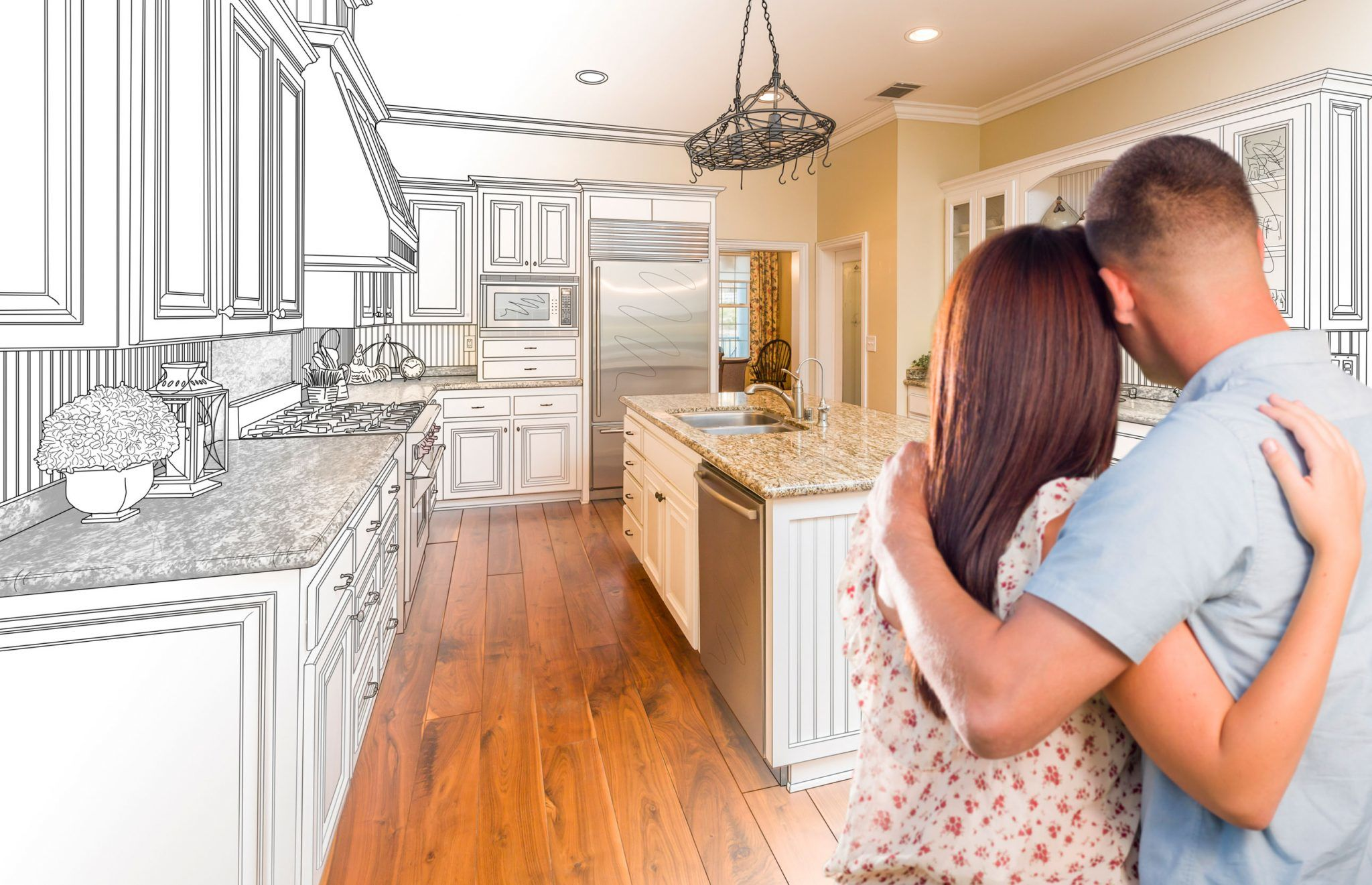 Couple-planning-their-ideal-home-remodel-through-financing