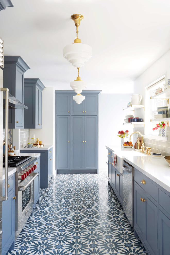 galley-style-kitchen-layout-for-narrow-kitchens-blue-and-gold-kitchen-cabinets