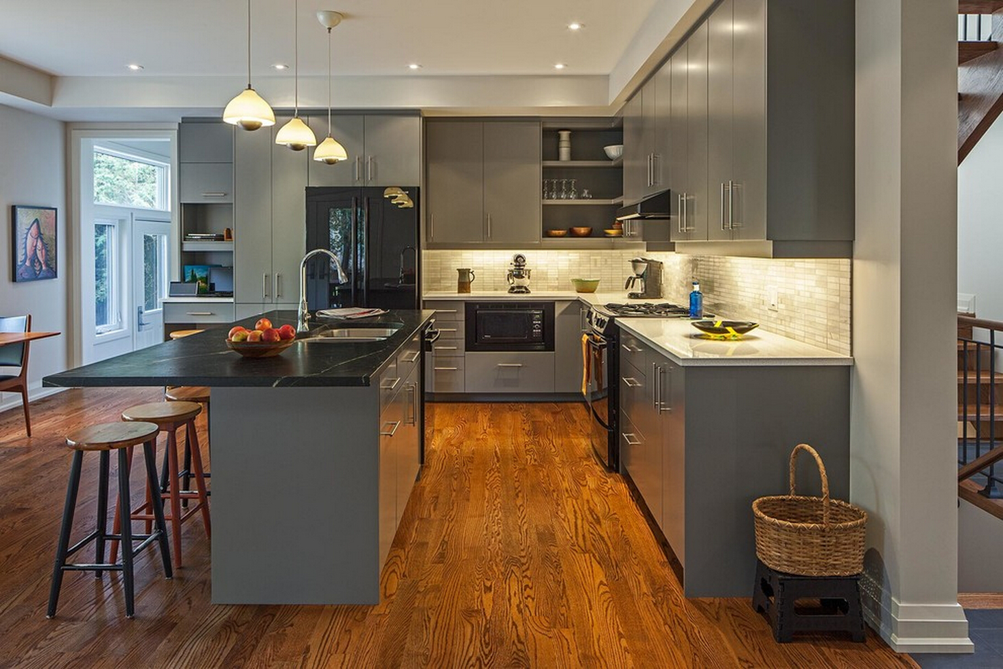 Light Wood Floors Gray Cabinets Kitchen My Ideal Home
